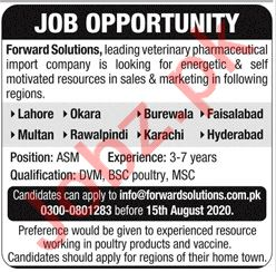 Area Sales Manager Jobs 2020 in Forward Solutions Karachi