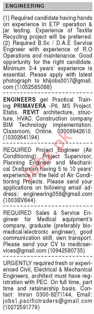 Dawn Sunday Classified Ads 9 Aug 2020 for Engineering Staff