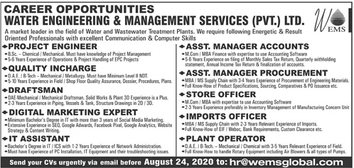 Water Engineering and Management Service Jobs 2020