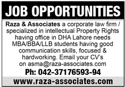Raza & Associates Jobs 2020 in Lahore