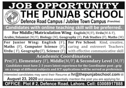 The Punjab School Jobs 2020 For Teaching Staff in Lahore