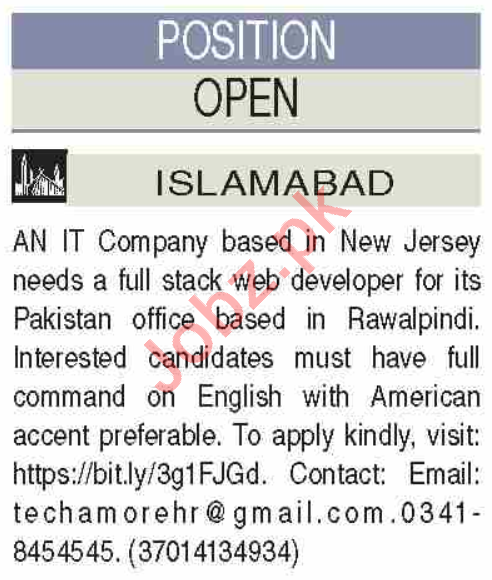 Full Stack Web Developer & Web Developer Jobs 2020