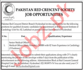Pakistan Red Crescent Society PRCS Jobs for Medical Officers