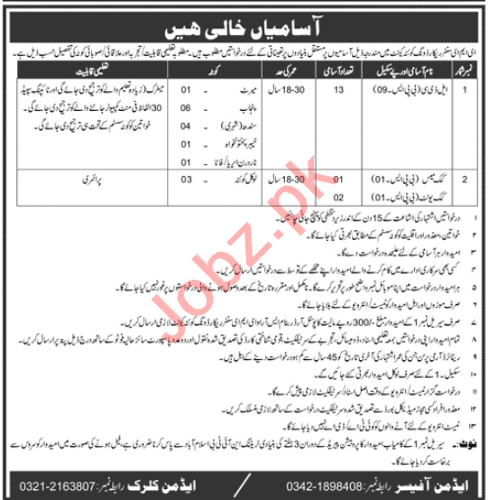Pak Army EME Center Record Wing Quetta Cantt Jobs 2020