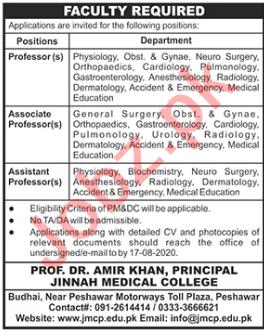 Jinnah Medical College Peshawar JMCP Jobs 2020 for Professor