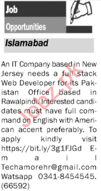 Web Developer & Full Stack Web Developer Jobs 2020