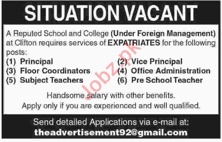 Principal & Floor Coordinator Jobs 2020 in Karachi