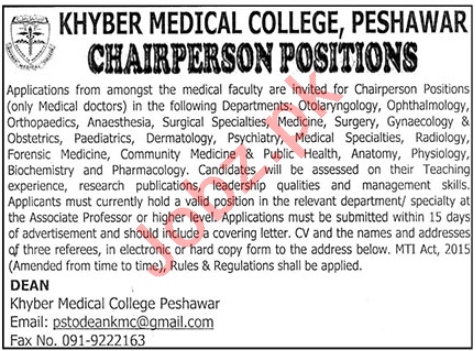Khyber Medical College KMC Peshawar Jobs 2020 Chairperson