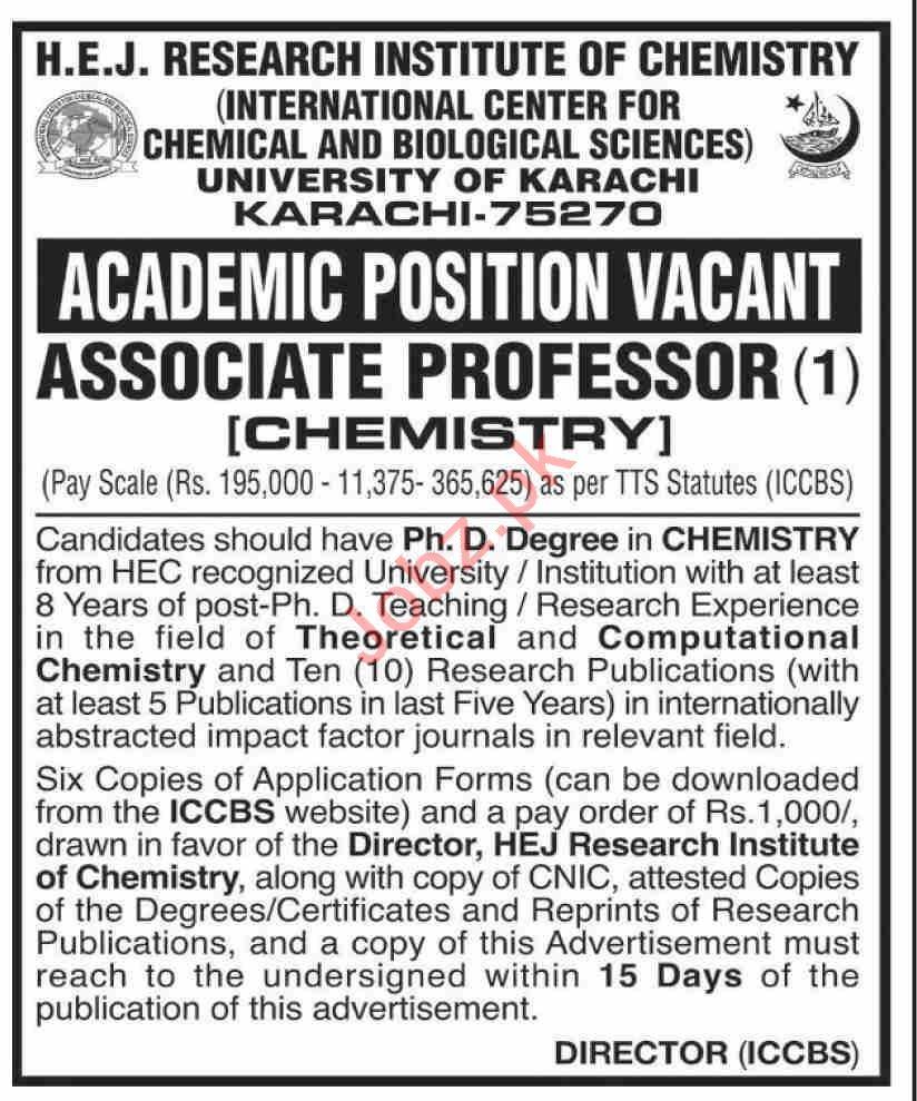 HEJ Research Institute of Chemistry Karachi Jobs 2020
