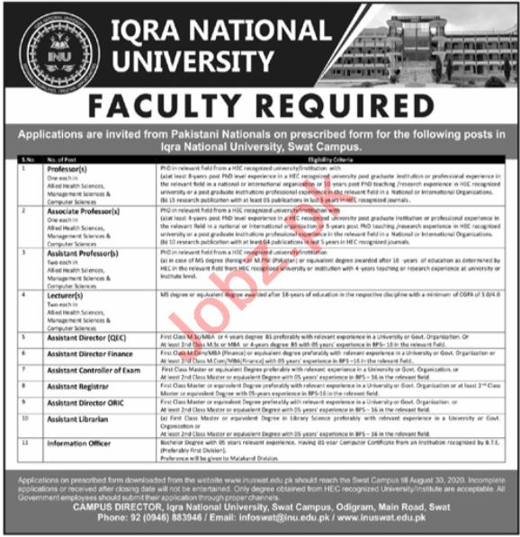 Iqra National University INU Swat Jobs 2020 for Professors