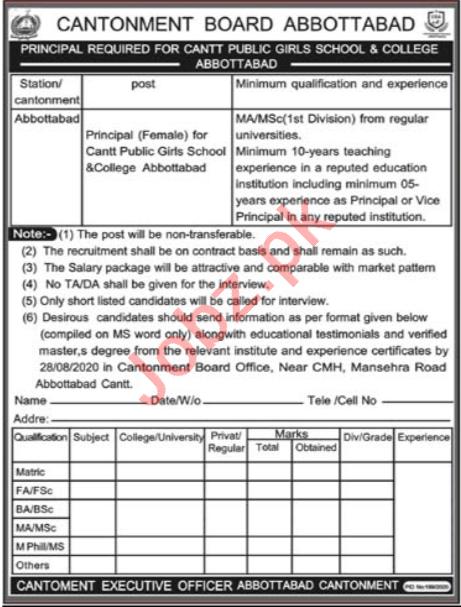 Cantt Public Girls School & College Abbottabad Jobs 2020