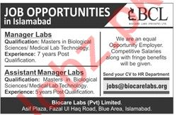 Biocare Labs Islamabad Jobs 2020 for Manager Labs