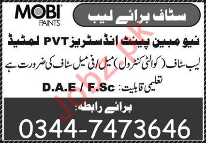 Mobi Paints Sargodha Jobs 2020 for Quality Control Officer