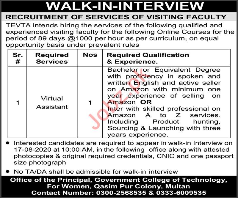 Govt College of Technology for Women GCTW Multan Jobs 2020