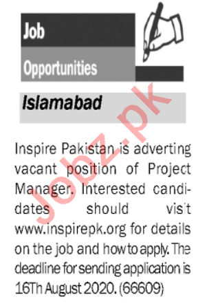 Inspire Pakistan NGO Jobs 2020 for Project Manager