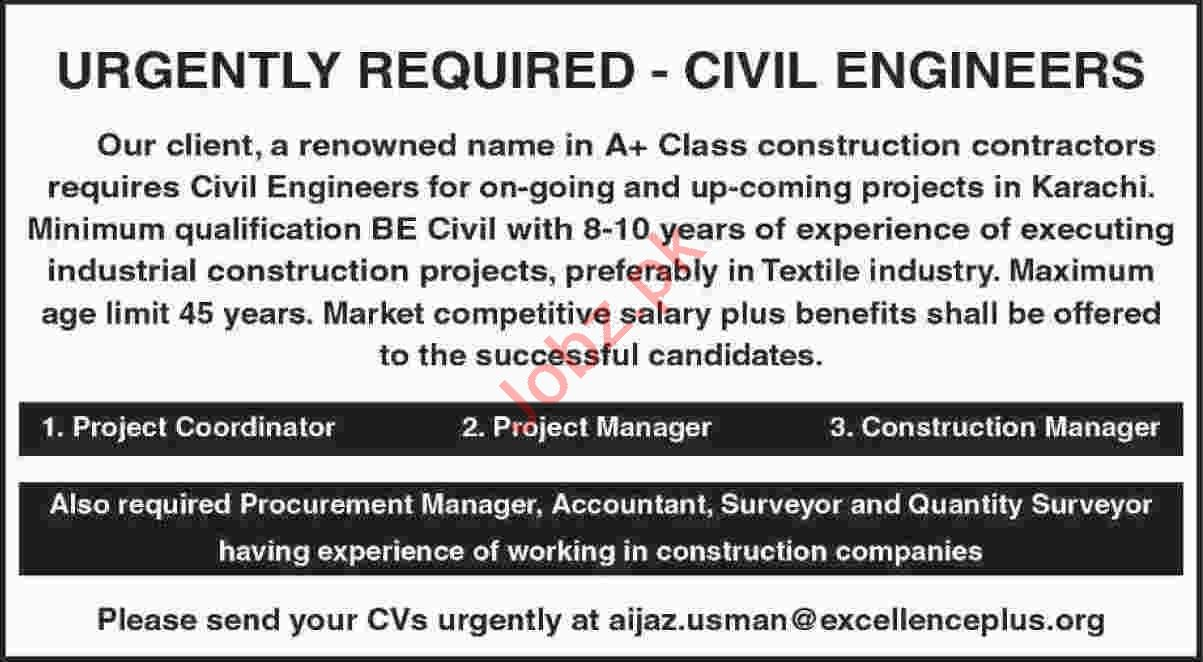 Project Manager & Construction Manager Jobs 2020 in Karachi