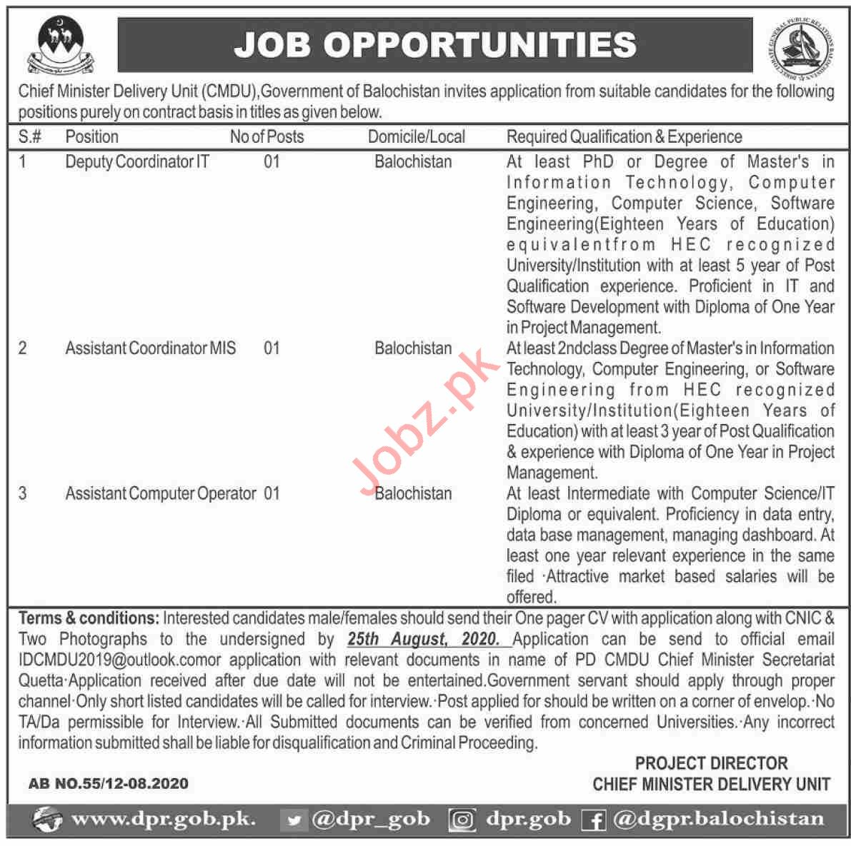 Chief Minister Delivery Unit CMDU Jobs 2020 for Coordinator