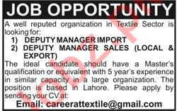 Deputy Manager Import & Deputy Manager Sales Jobs 2020