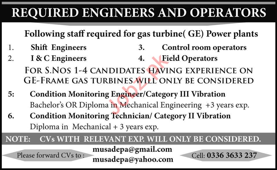 Shift Engineer & Control Room Operator Jobs 2020 in Lahore