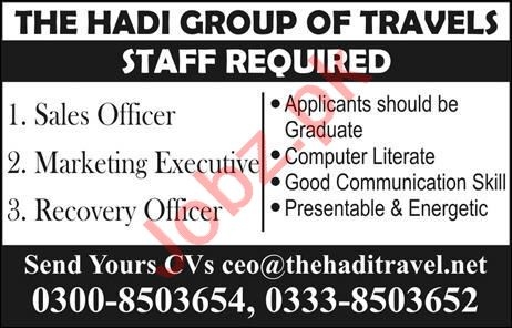 Marketing Executive & Recovery Officer Jobs 2020 in Lahore