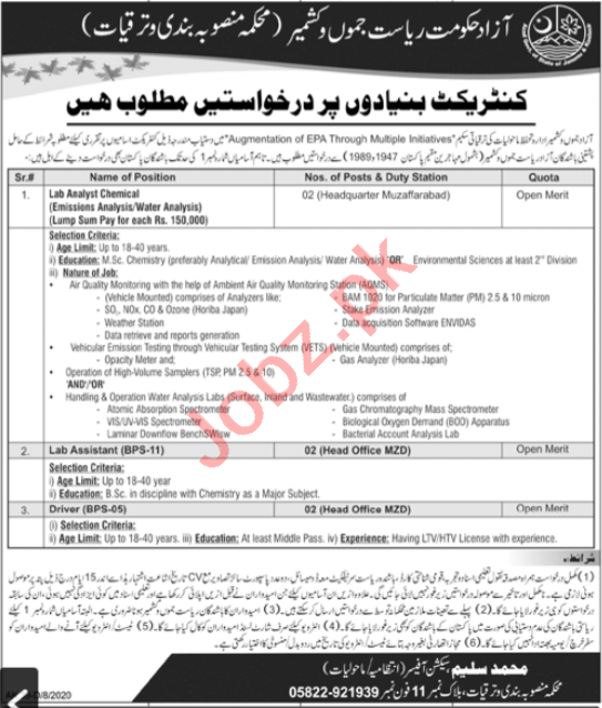 Electricity Department AJK Jobs 2020 for Lab Analyst