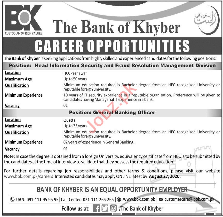 General Banking Officer & Head Information Security Jobs