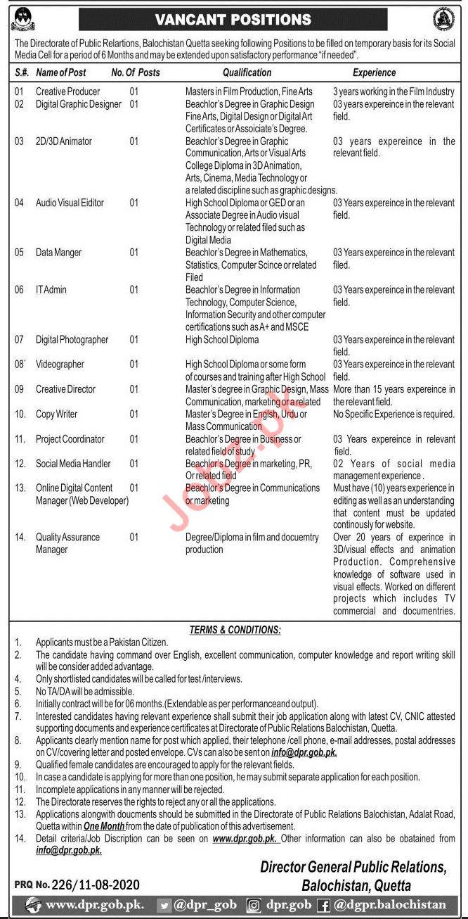 Web Developer & Creative Producer Jobs 2020 in DPR Quetta