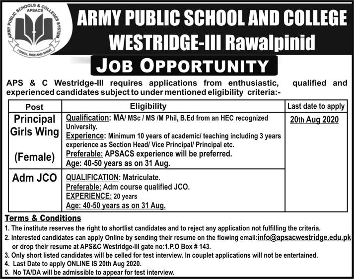 Army Public School And College Jobs 2020 in Rawalpindi