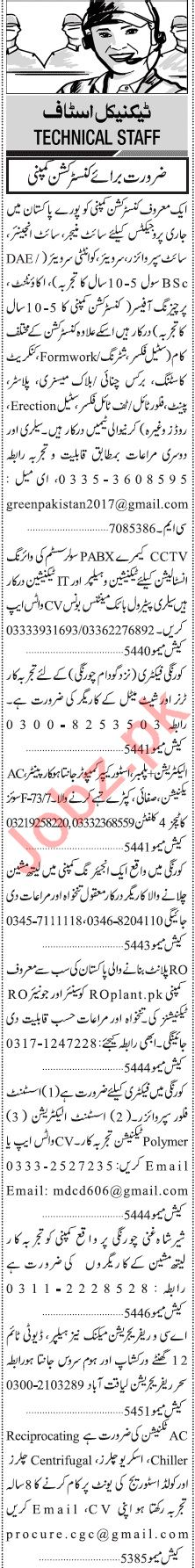 Jang Sunday Classified Ads 16 Aug 2020 for Manufacturing