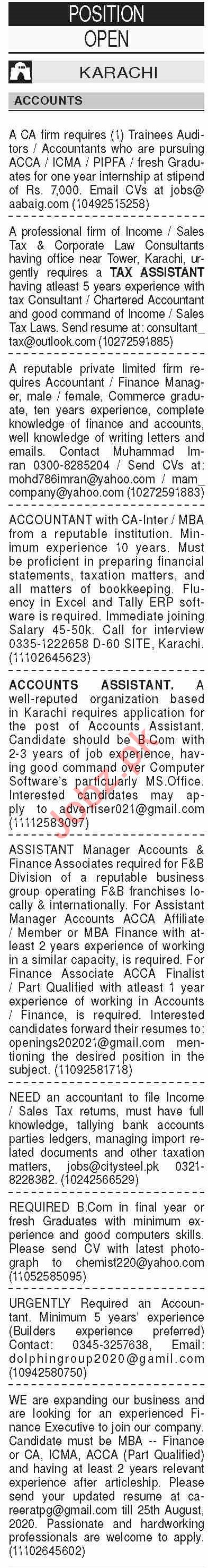 Dawn Sunday Classified Ads 16 Aug 2020 for Accounts Staff