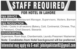 Hotel Staff Jobs 2020 in Lahore