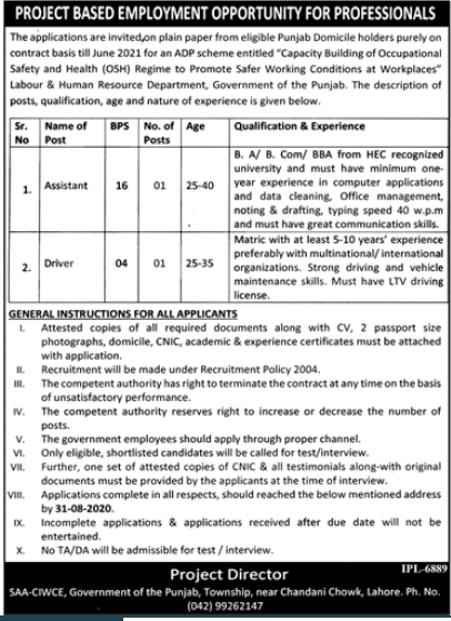 Labour & Human Resource Department Jobs 2020 in Lahore