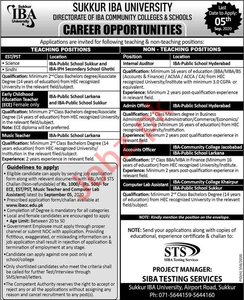 IBA Community Colleges & Schools Jobs 2020 for Teachers