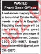 Front Desk Officer & Receptionist Jobs 2020 in Multan
