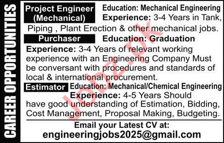 Project Engineer & Mechanical Engineer Jobs 2020