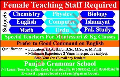 Female Teaching Staff Jobs in Punjab Grammar School