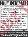 Tour Consultant & Client Service Officer Jobs 2020