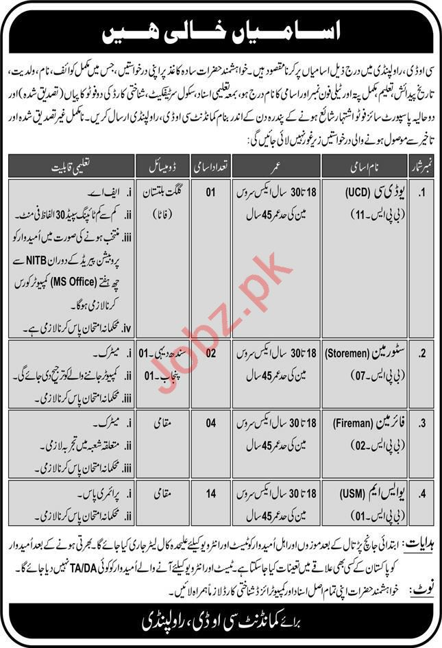 Pak Army Central Ordnance Depot COD Rawalpindi Jobs 2020