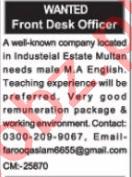 Front Desk Officer & Receptionist Jobs 2020 in Multan