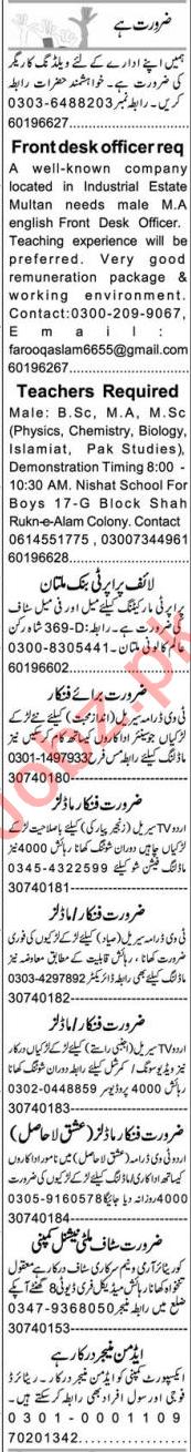 Front Desk Officer & Teacher Jobs 2020 in Multan