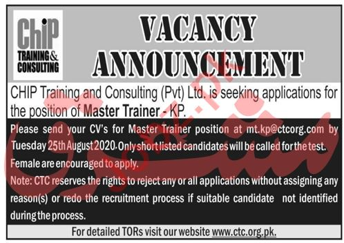 Master Trainer Jobs 2020 in CHIP Training & Consulting CTC