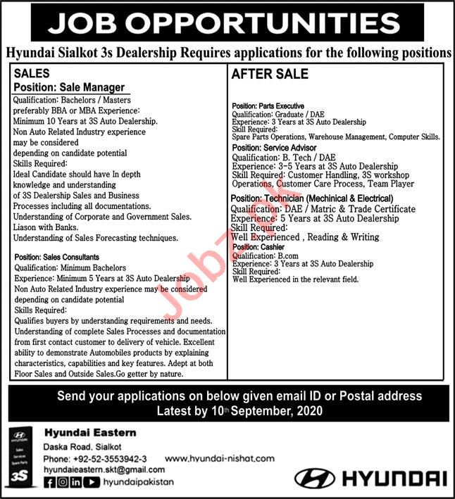 Hyundai Sialkot Jobs 2020 for Sales Manager