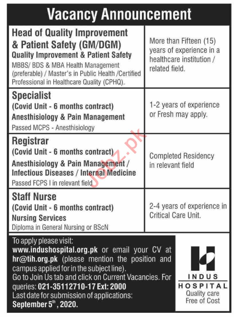 The Indus Hospital TIH Karachi Jobs 2020 Medical Specialist