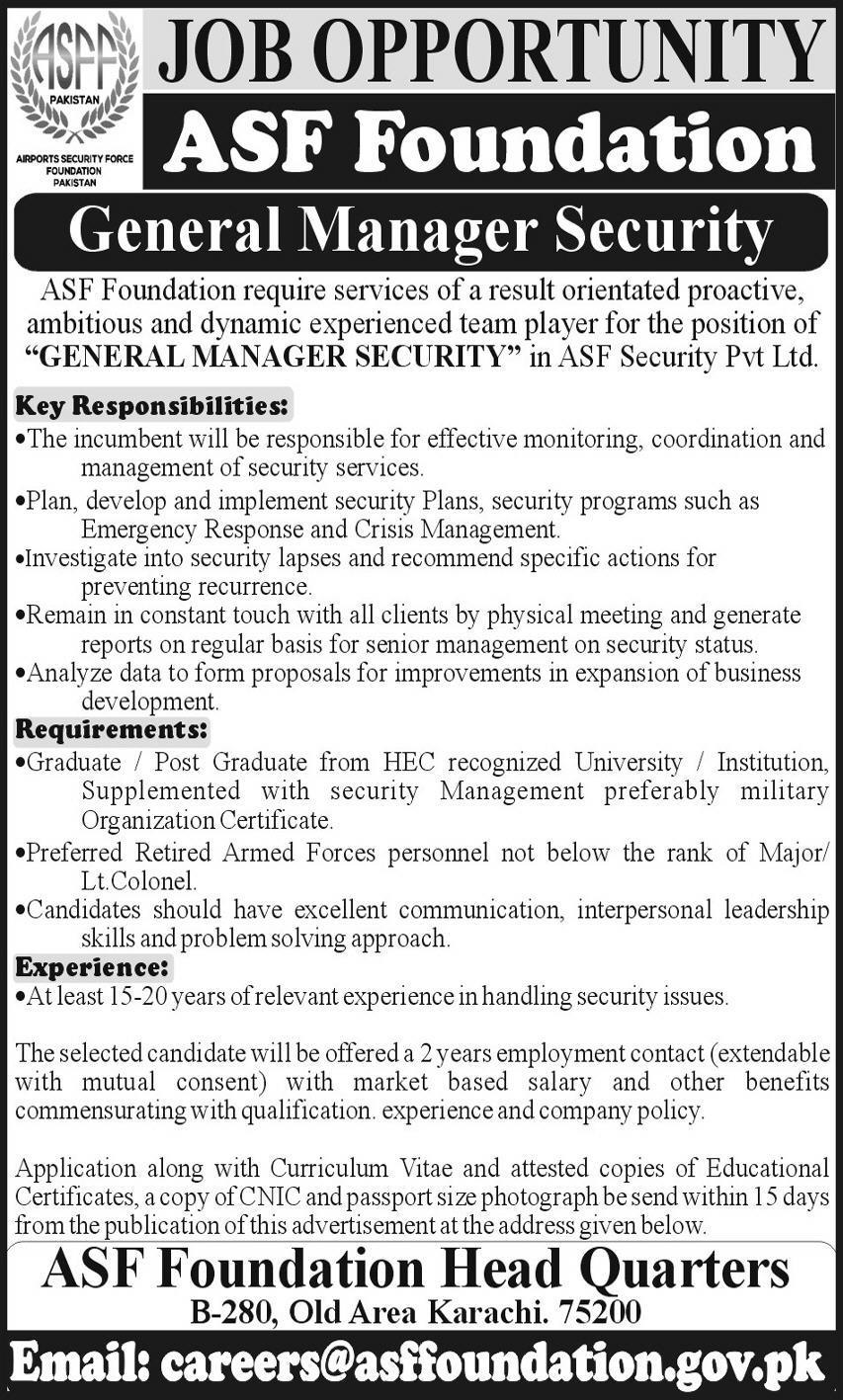 ASF Foundation Jobs 2020 in Karachi