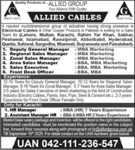 Allied Cables Jobs 2020 For Sales Staff