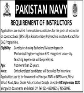 Pakistan Navy Polytechnic Institute Jobs For Instructors