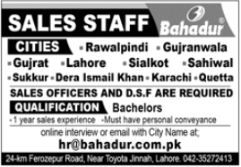 Bahadur Group of Industries Jobs 2020 For Sales Officers