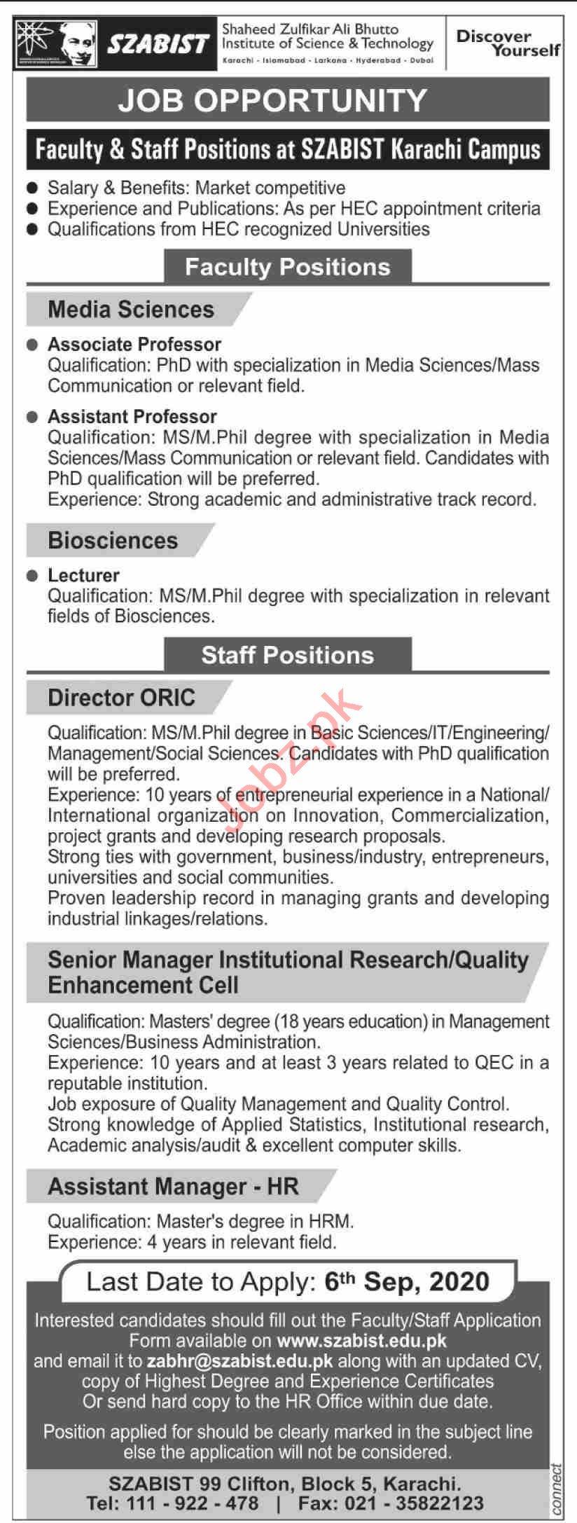 SZABIST University Karachi Campus Jobs 2020