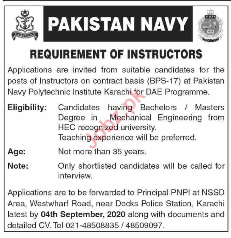Pakistan Navy Polytechnic Institute PNPI Karachi Jobs 2020
