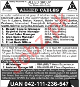 Allied Cables Lahore Jobs 2020 for Deputy General Manager